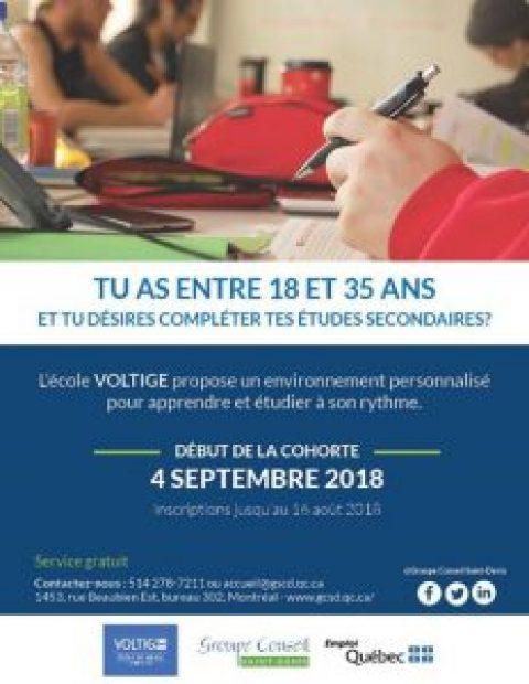 Deux programmes offerts à l'automne 2018 au Groupe Conseil Saint-Denis